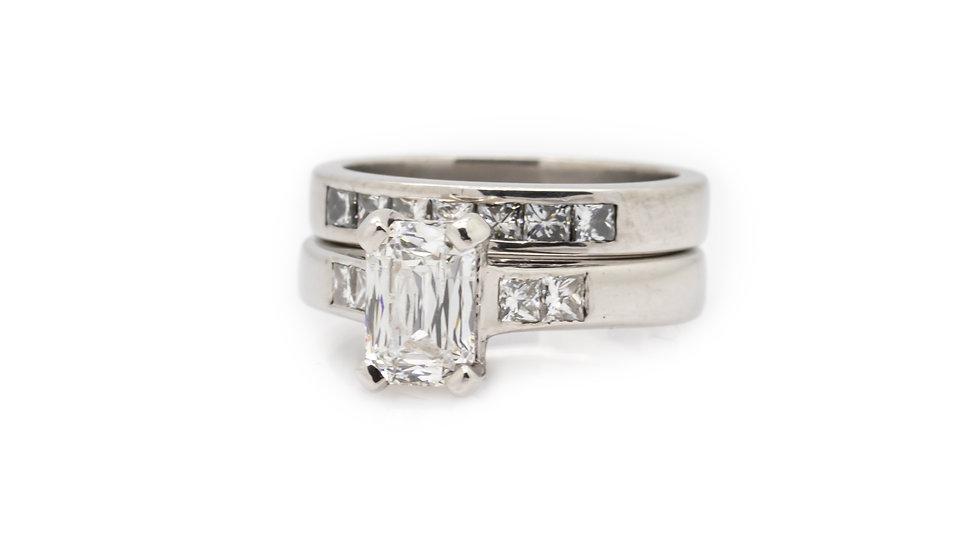 Baguette Diamond Solitaire Ring Set