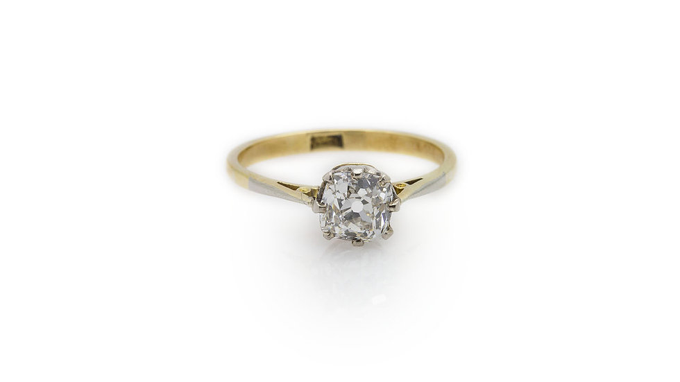 Old European cut 1ct diamond solitaire ring set in 18ct yellow gold.