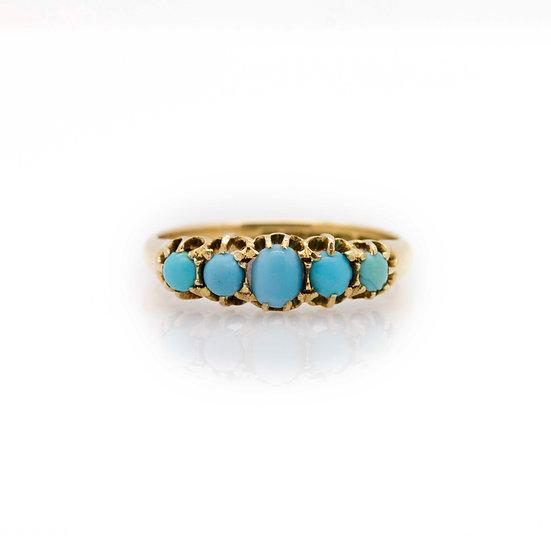 5 Stone Turquoise Eternity Ring