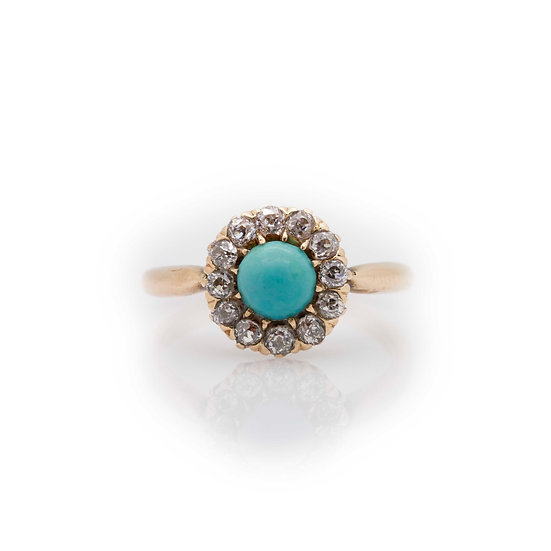 Turquoise & Diamond Ring view 1