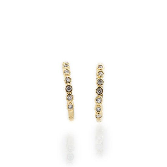 Yellow Gold Diamond Clip Hoop Earrings