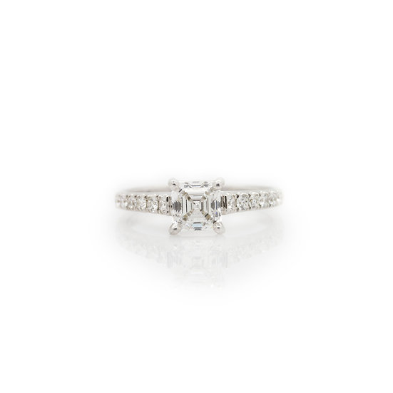 Mill Cut Princess Solitaire Diamond Ring view 1