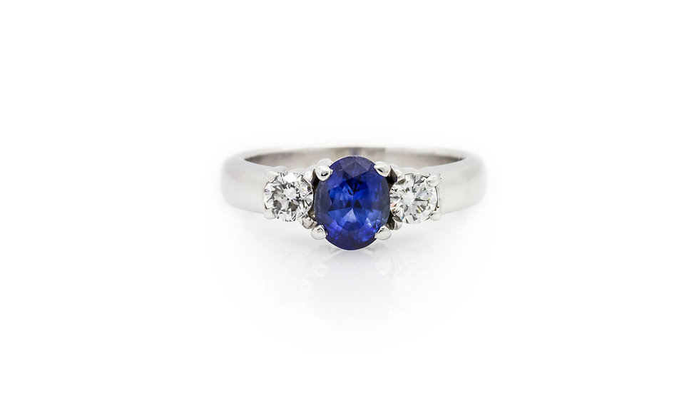 Sapphire & Diamond Trilogy Ring view 1