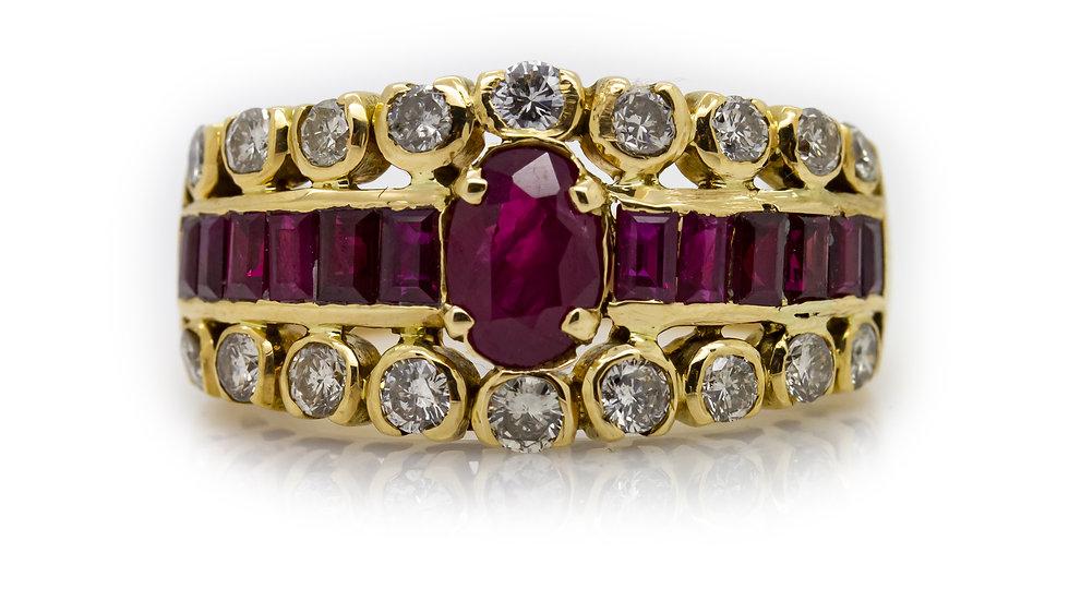 Ruby & Diamond Yellow Gold Band Ring