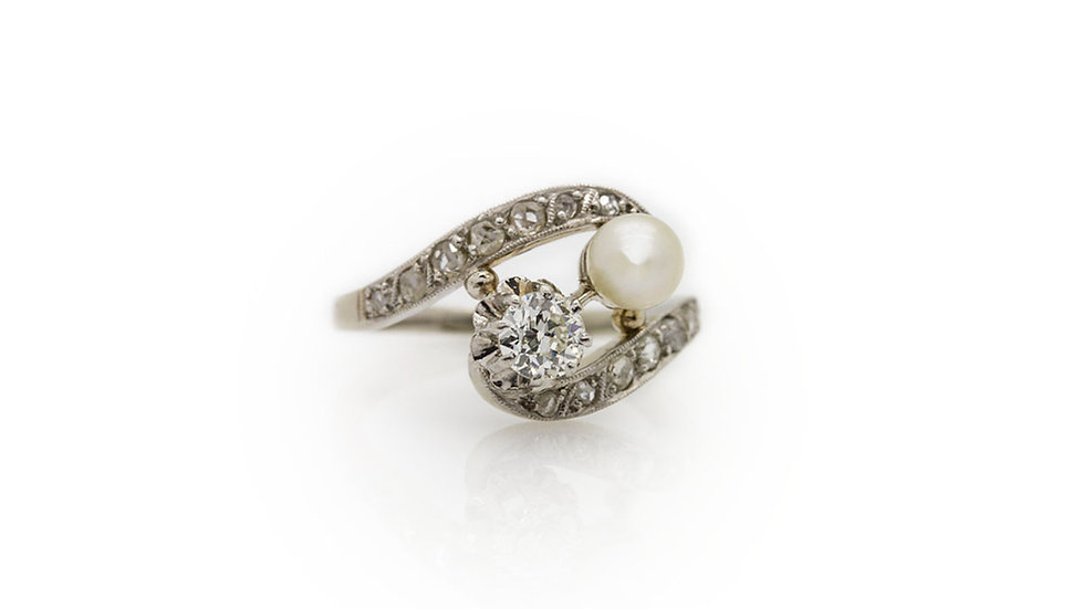 Antique Style Pearl and Diamond Ring
