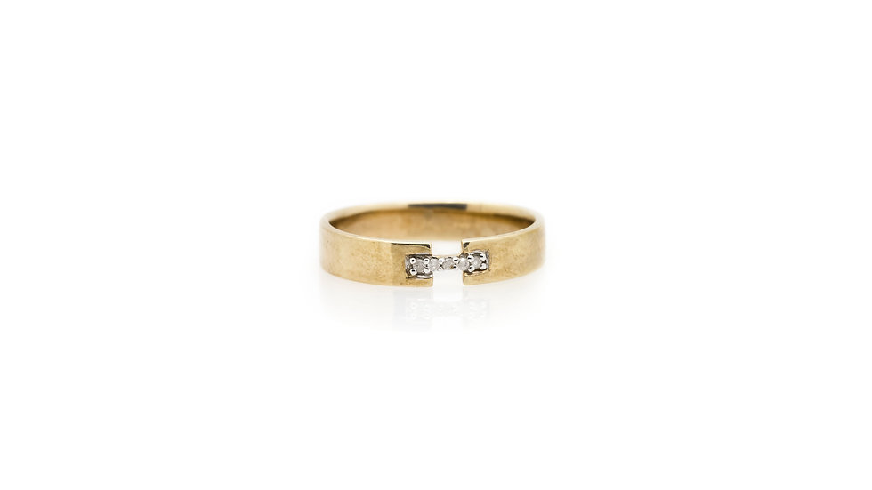 Yellow Gold Diamond Bridge Wedding Band front view