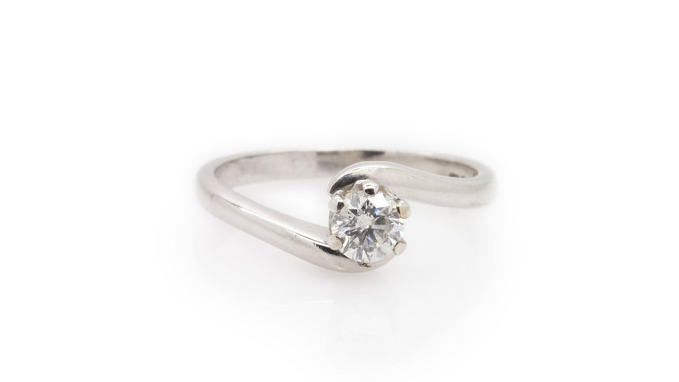 Diamond Solitaire Twist Ring in White Gold front view