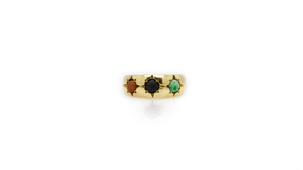 3 Stone Jade Ring view 1