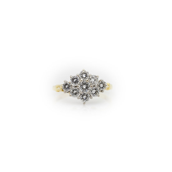 Diamond Cluster Ring view 1