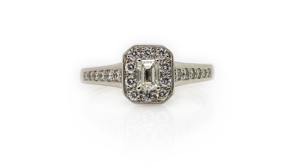 Raphael Collection Platinum Emerald Cut Diamond Engagement Ring