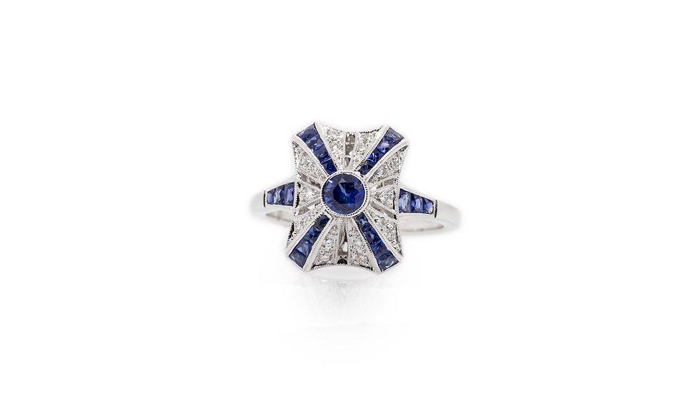 Art Deco Sapphire & Diamond Ring view 1