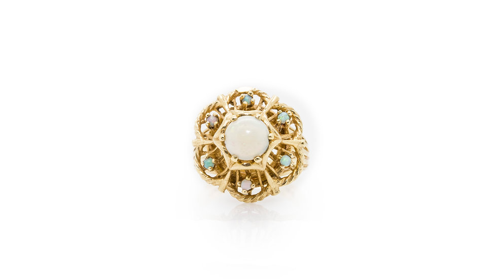 Opal Cocktail Cluster Yellow Gold Ring view 1