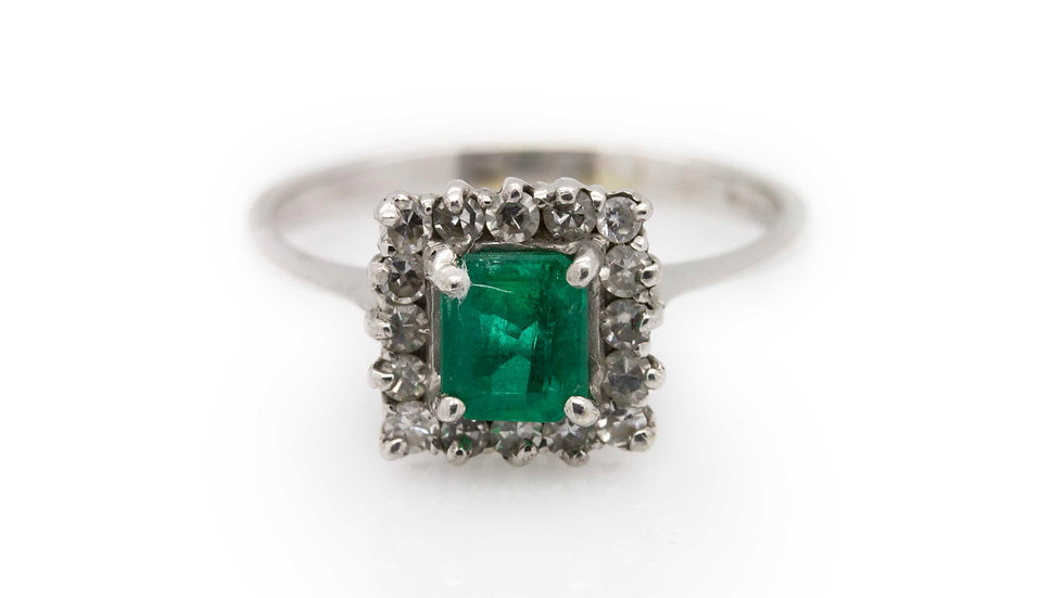 Princess Cut Emerald Ring front view
