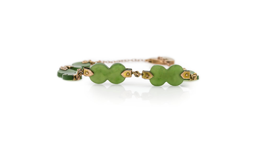 Jade Bracelet With Gold Heart Lock view 1