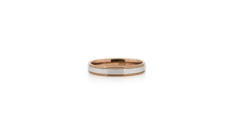 White & Rose Gold Wedding Band