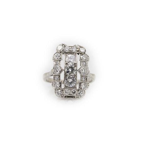 Platinum Art Deco Diamond Ring view 1