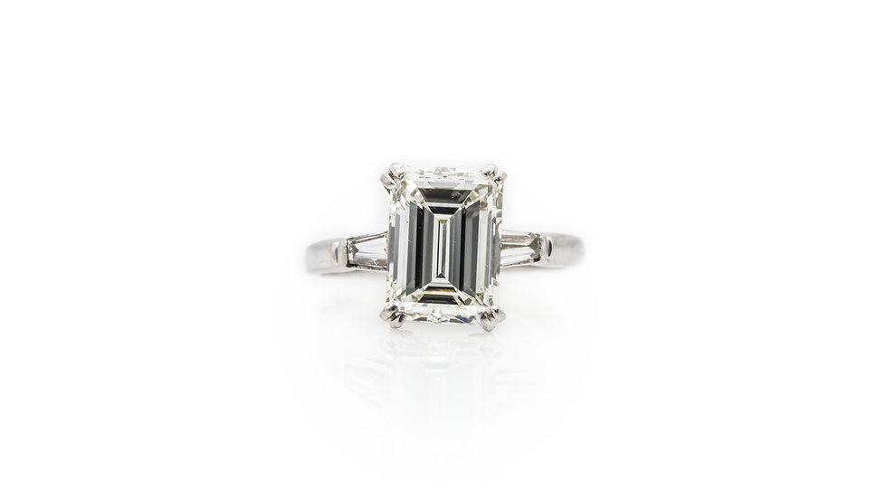 2.85ct Baguette Solitaire Diamond Ring view 1
