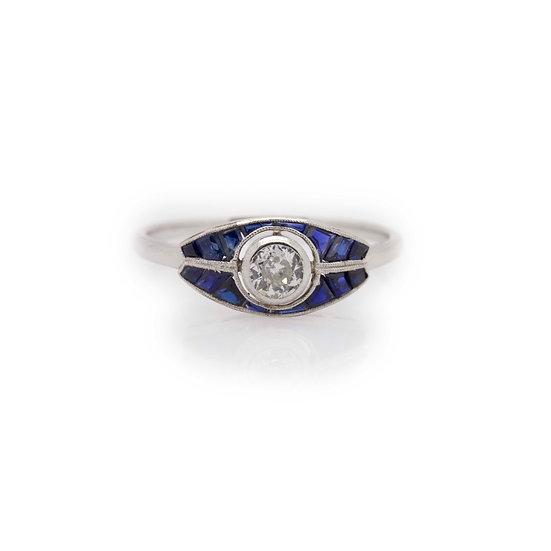 Platinum ArtDeco Sapphire & Diamond Ring view 1