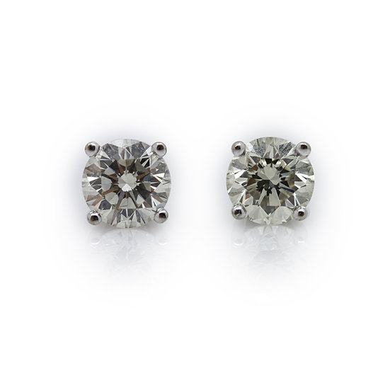 2.14ct Brilliant Round Cut Diamond Solitaire Earrings