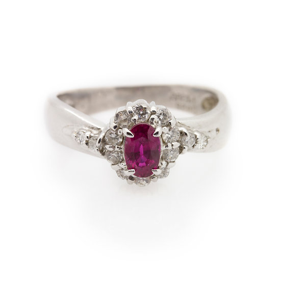 Platinum Ruby Ring front view