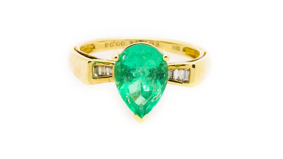 Emerald Pear Cut Ring