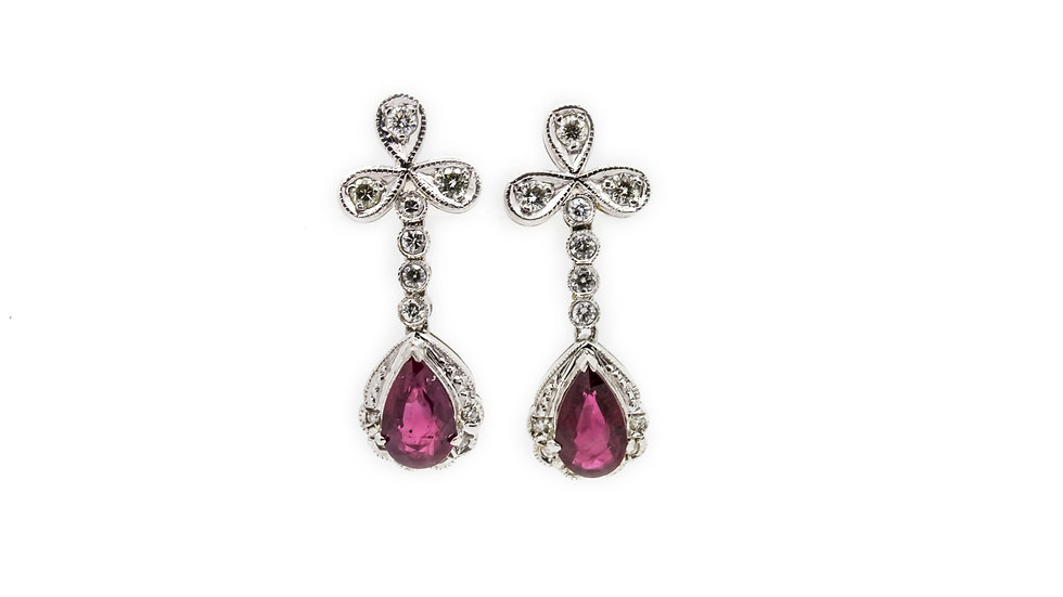 Ruby Pear Drop Earrings