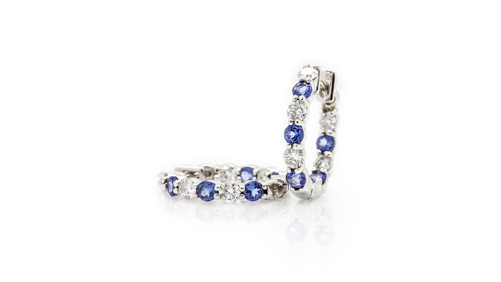 Tanzanite & Diamond  Inside-out Hoop Earrings view 1