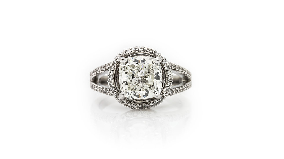 3.04ct Cushion Halo Engagement Ring