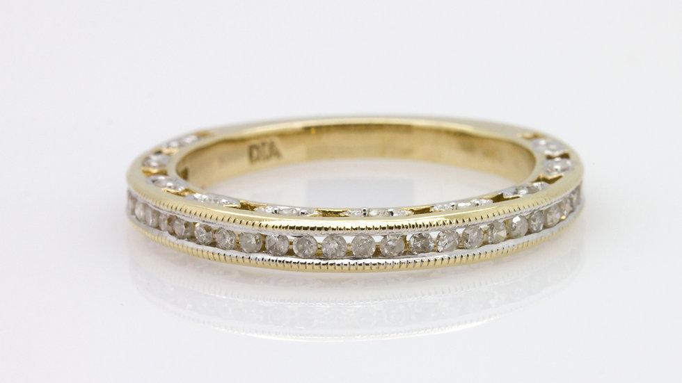 9 Carat Yellow Gold Detailed Diamond Wedding Band