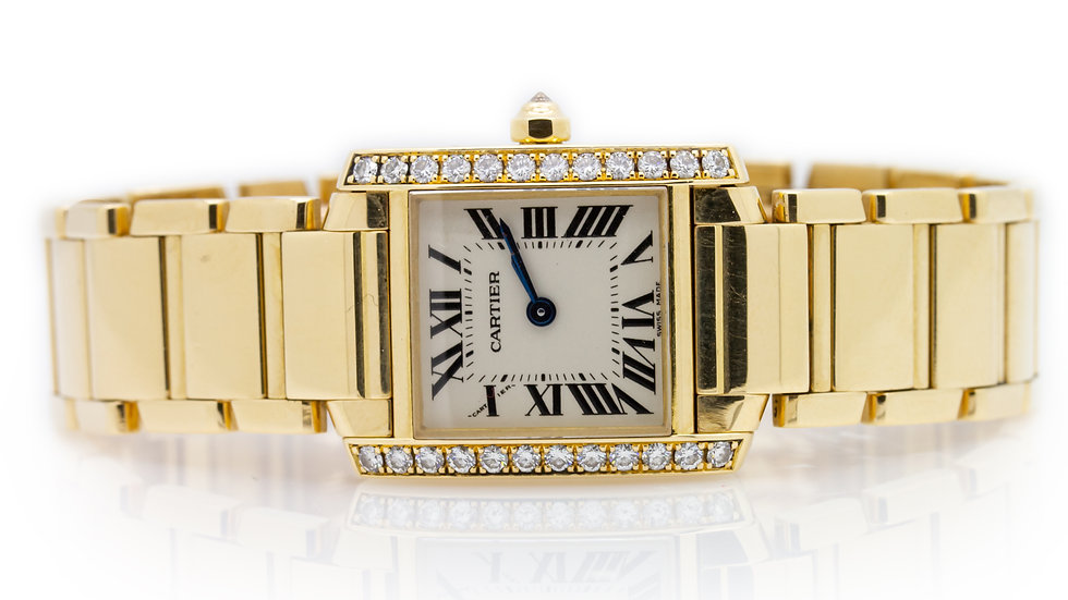 CartierTank Francaise 18ct yellow gold set with diamonds Mulroy and Grosvenor view 1