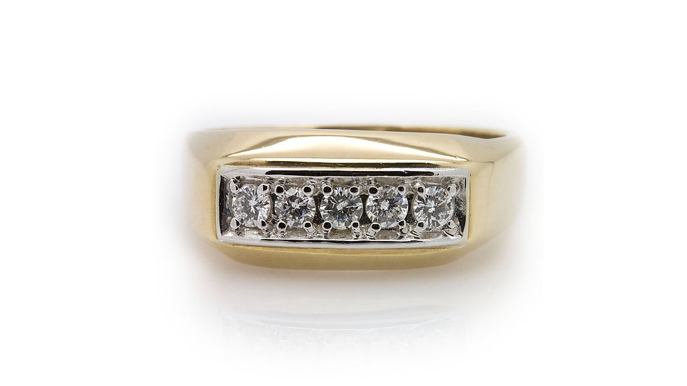 Mens Yellow Gold Diamond Ring