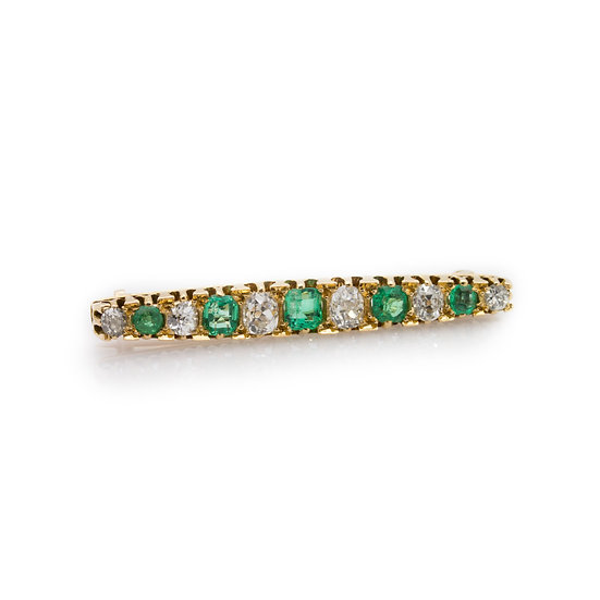 Victorian Emerald & Diamond Brooch view 1