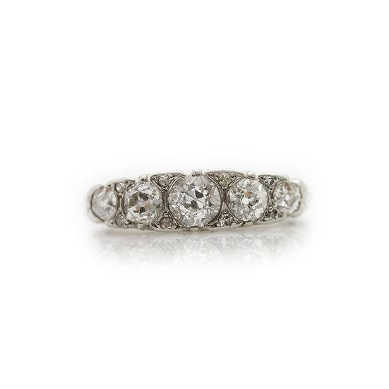 Platinum 5 Stone Diamond Ring