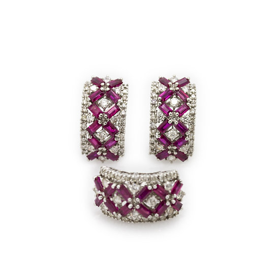 Ruby & Diamond Earring & Pendant Set