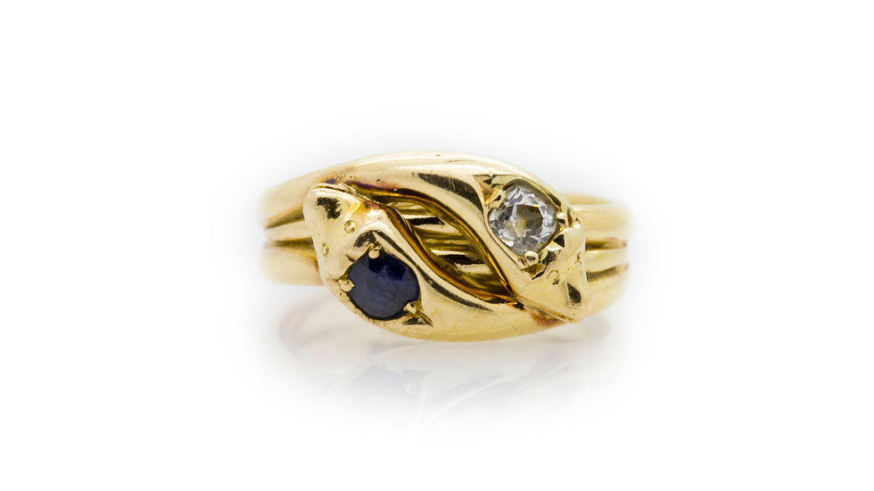 Sapphire & Diamond Snake Ring front view