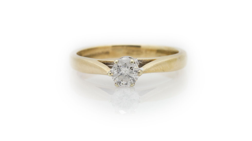 Yellow Gold Solitaire Diamond Ring view 1