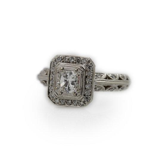 Princess Halo Diamond Engagement Ring
