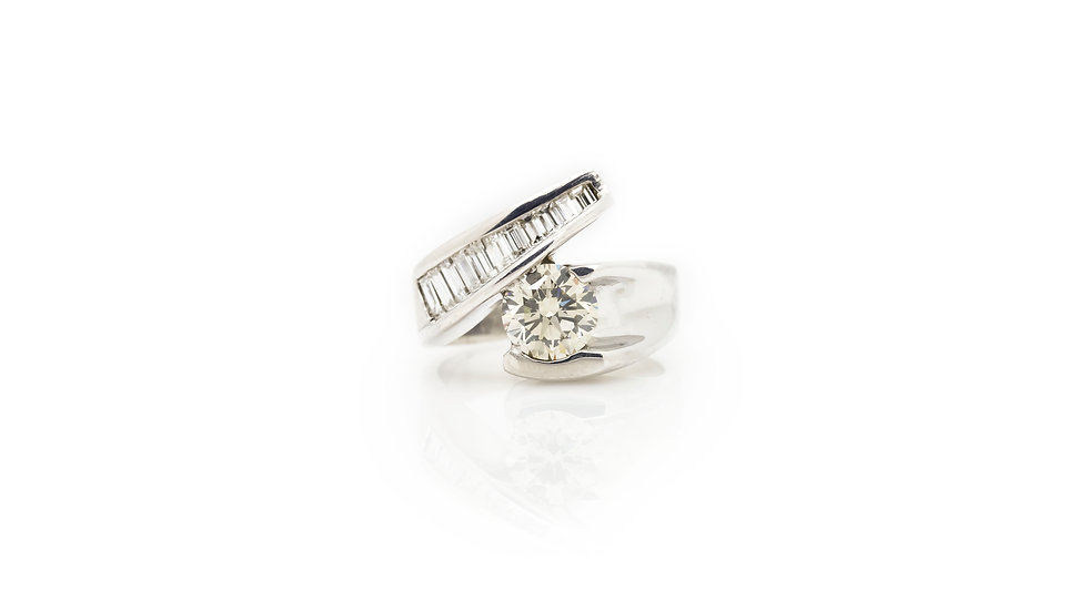 Solitaire Diamond Ring front view plad coated