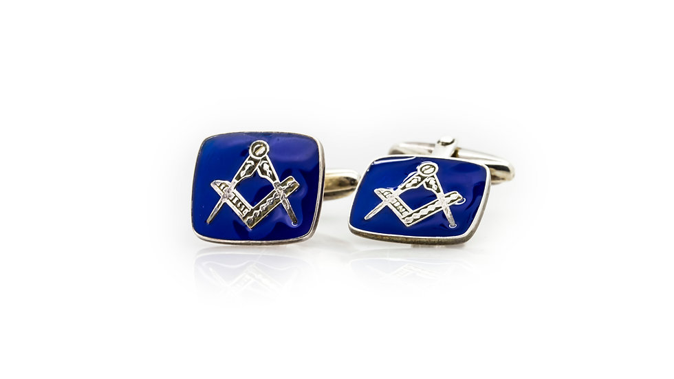 Sterling Silver Masonic Blue Enamel Cuff Links