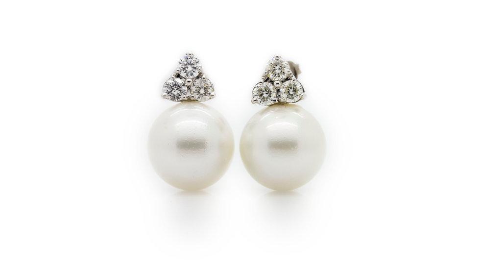 Pearl & Diamond Earrings front view