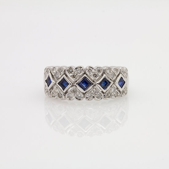 Wide Sapphire & Diamond Band