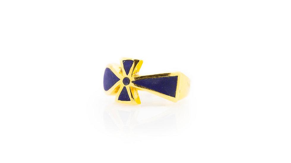 Ankh Cross ring blue