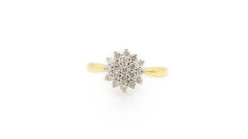 Flower Diamond Cluster Ring view 1