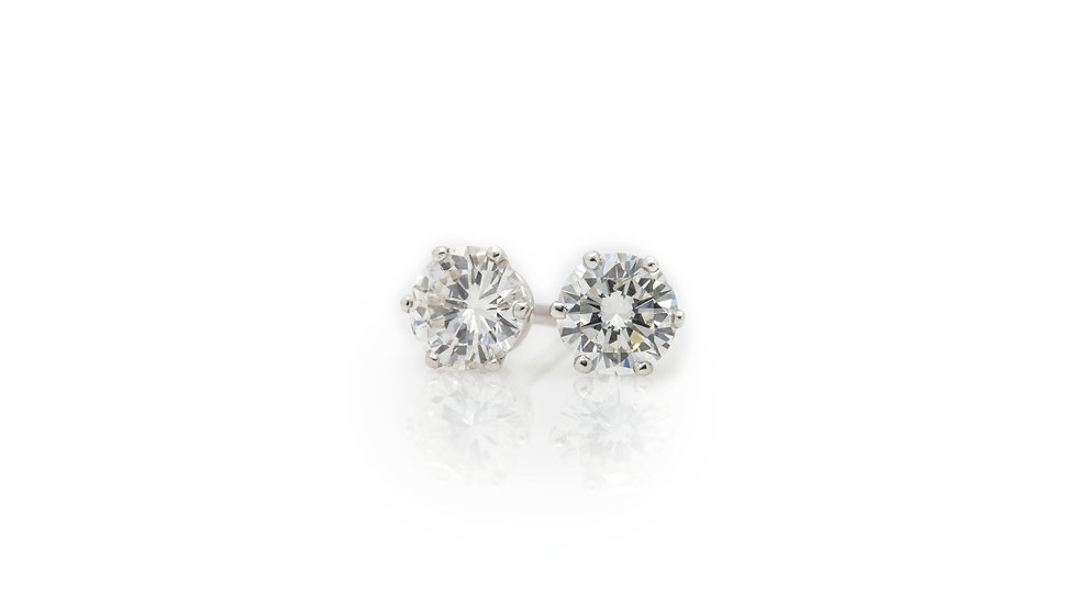 Brilliant Round Cut Diamond Solitaire Earrings