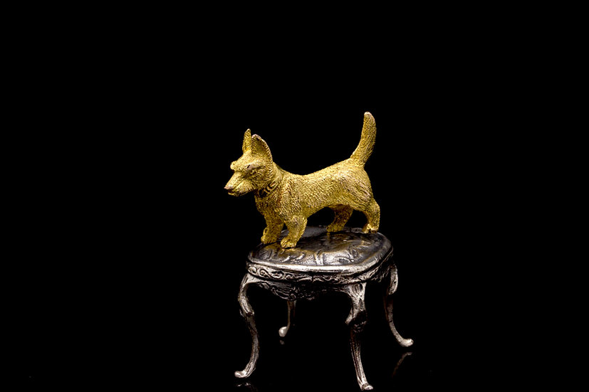 Gold Terrier Dog Brooch