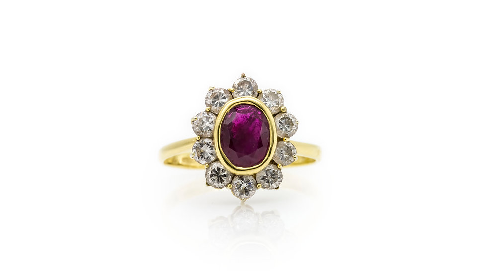 Oval Ruby Diamond Halo Ring Mulroy Antiques View 1