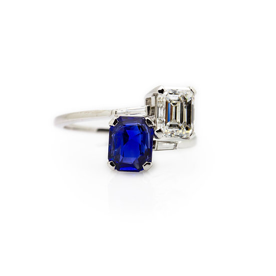 Sapphire & Diamond 2 Stone Twist Ring view 1
