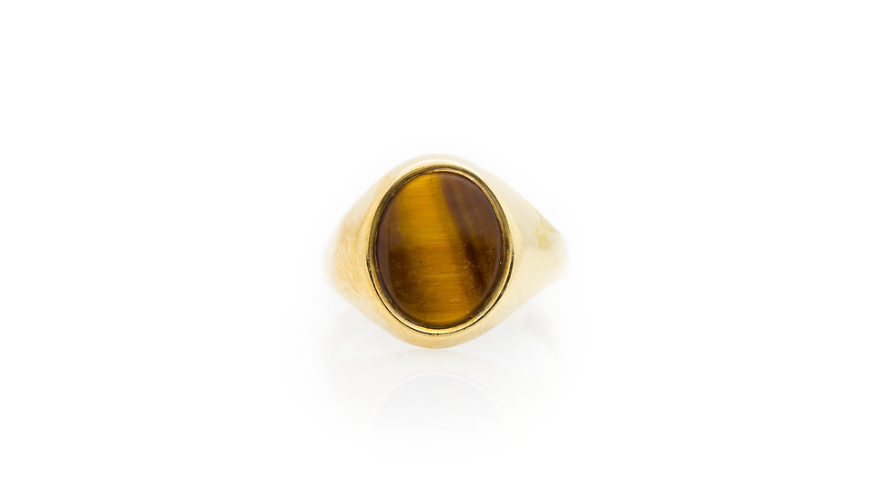 Tigers Eye Signet Ring front view