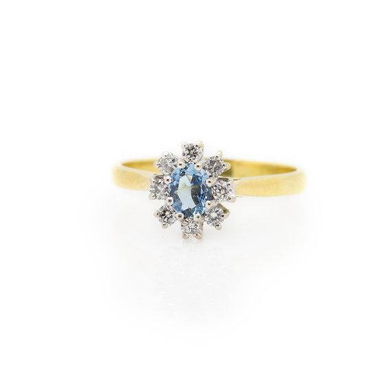 Aquamarine & Diamond Ring front view