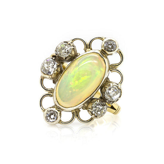 Opal and diamond ring set in 18ct yellow gold Mulroy Antiques view 1